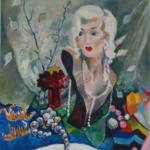 Stilleven met portretkop van Marilyn Monroe